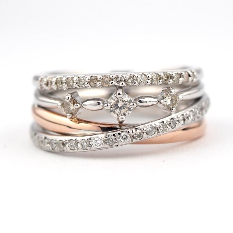 静岡きたがわ宝石のジュエリーリフォーム 2本の指輪を1本に