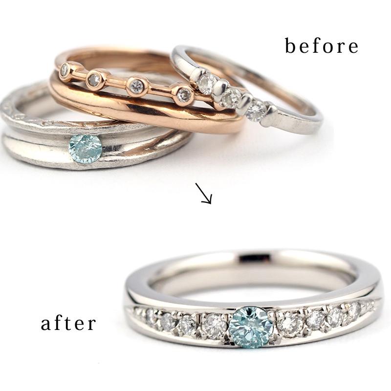 静岡きたがわ宝石のジュエリーリフォーム 3本の指輪を1本に