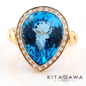 静岡きたがわ宝石のブルートパーズとダイヤモンドの指輪