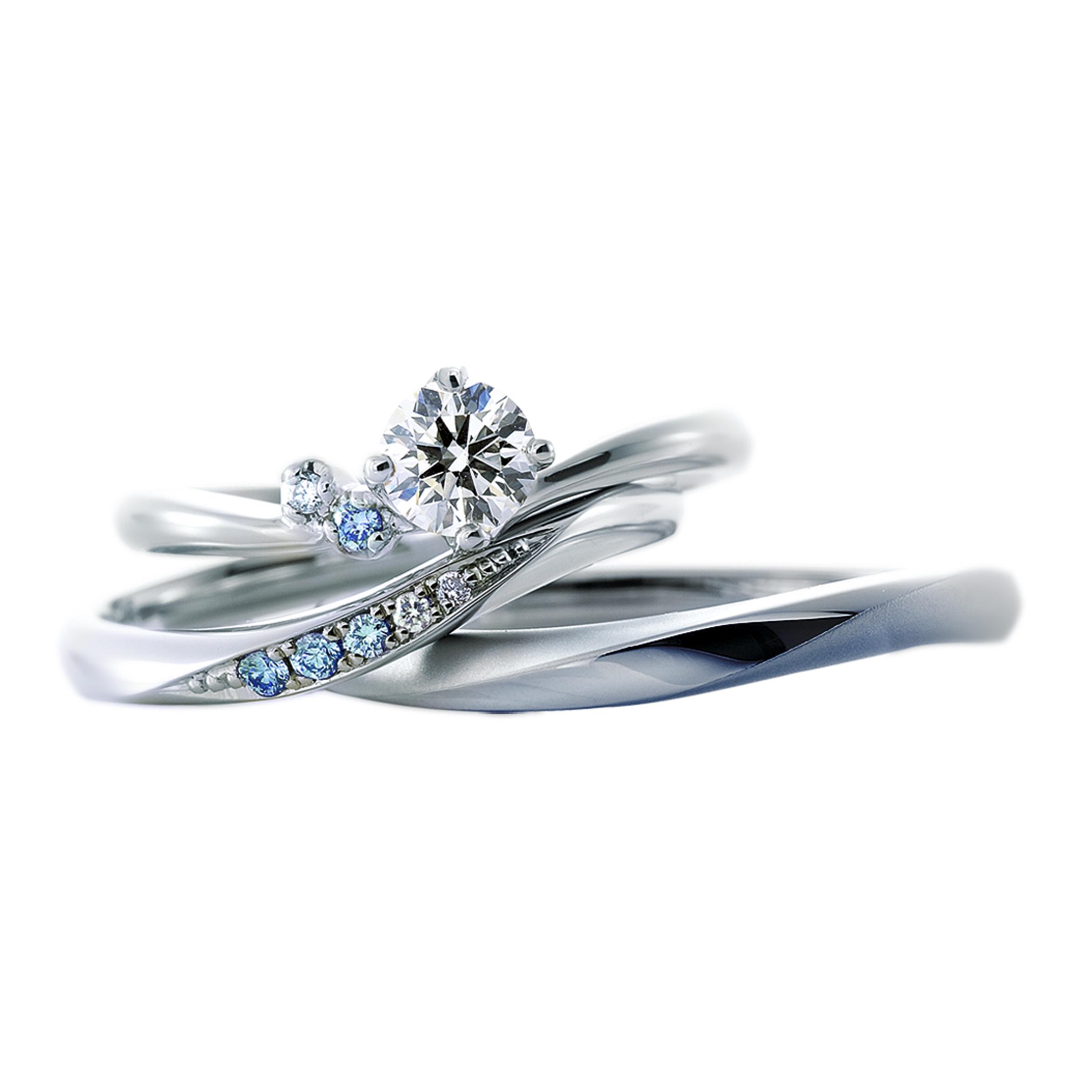 アイスブルーダイヤモンドのセットリング