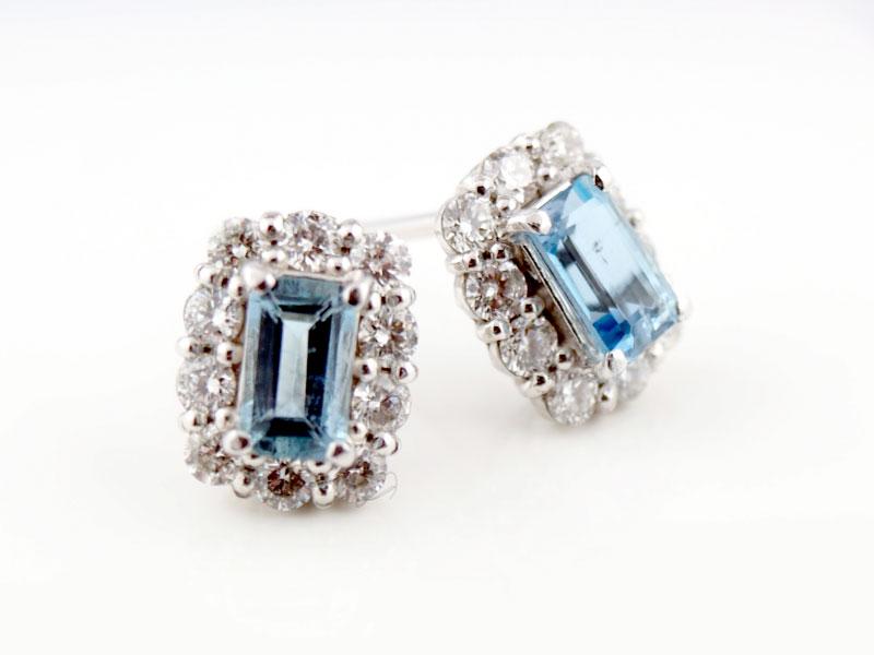 アクアマリンとダイヤモンドのピアス