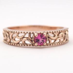 ピンクゴールド トルマリンの指輪
