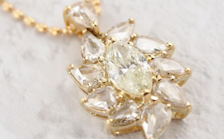 ローズカットダイヤモンドのペンダントネックレス