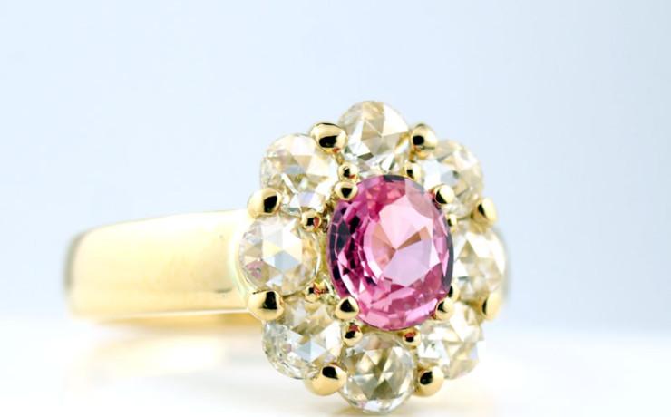 パパラチアサファイアとローズカットダイヤモンドの指輪