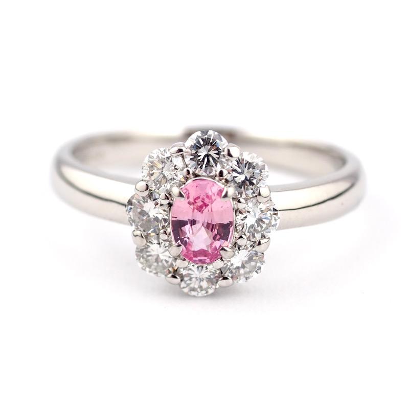 静岡きたがわ宝石のジュエリー修理 パパラチアサファイアの指輪のサイズ直し