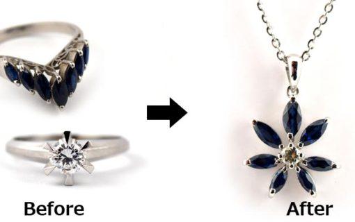 サファイアの指輪をペンダントネックレスへ
