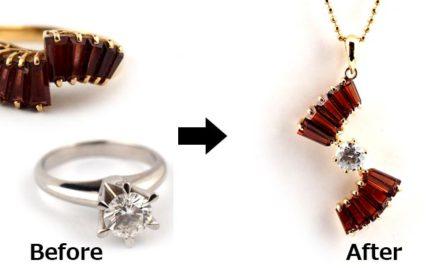 K18ルビーの指輪からペンダントネックレスへジュエリーリフォーム