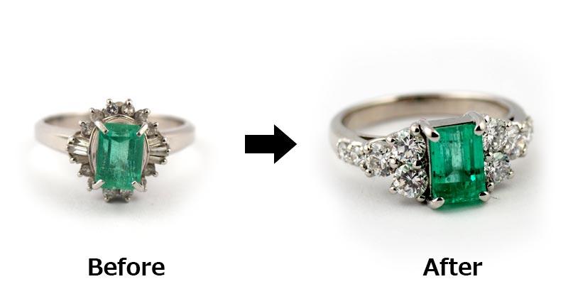 プラチナ エメラルドの指輪をジュエリーリフォーム