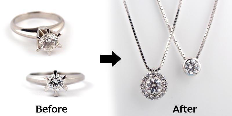立て爪婚約指輪からペンダントネックレスへジュエリーリフォーム