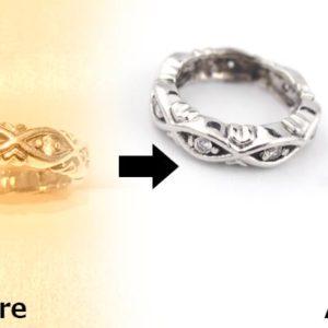 指輪をベビーリング風のペンダントトップに