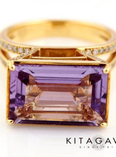 静岡きたがわ宝石のアメジストとシトリンの指輪