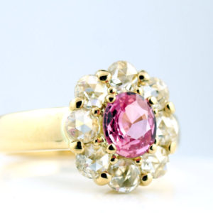 パパラチアサファイアとローズカットダイヤモンドの指輪・静岡きたがわ宝石